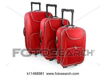 剪贴画 三, 红, 旅行, 小提箱