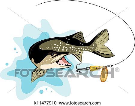 Clipart luccio e allettare pescando vettore for Stampe di baite