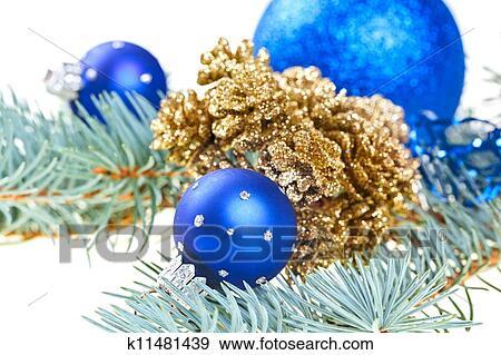 Stock fotograf blau weihnachtsdeko kugeln mit - Weihnachtsdeko blau ...