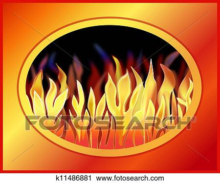 Blazing Fire Clipart of a Blazing Fire