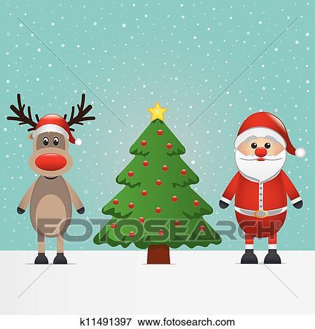 剪贴画 圣诞老人, 驯鹿, 同时,, 圣诞树