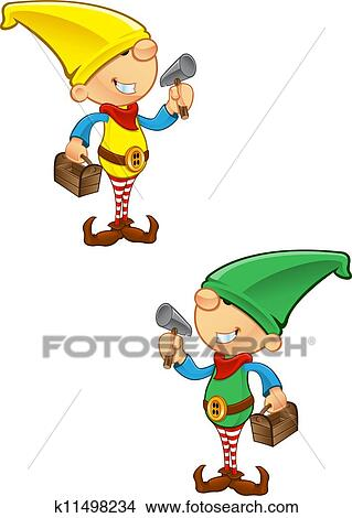 Clipart of Elf Mascot - Hammer And Toolbox k11498234 ...