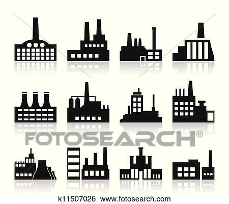 剪贴画 - 工厂, 图标