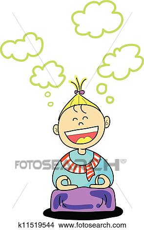 Clipart of happy kid practice meditation cartoon hand-drawn ...