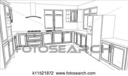 Clip Art Of Kitchen Design In White Fill K11521872 Search Clipart Illustration Posters