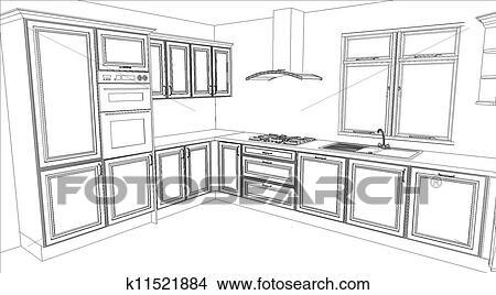 Drawings of kitchen design in white fill k11521884 - Dibujos de cocinas ...