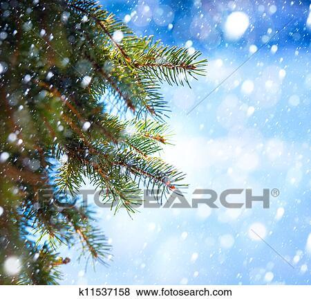 bilder kunst weihnachtsbaum zweig und schneien sturz. Black Bedroom Furniture Sets. Home Design Ideas