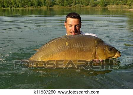 Archivio fotografico pescando scena carpa pescando - Carpa a specchio ...
