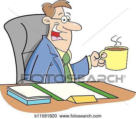 剪贴画 卡通漫画, 喝咖啡的人图片