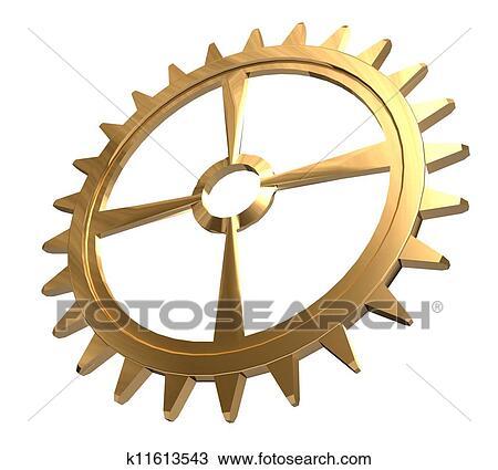 手绘图 - 3d, 金色, 齿轮