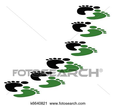 Clipart of carbon footsteps k6640821 - Search Clip Art ...
