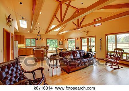 stock foto gro wohnzimmer auf dass pferd ranch mit dass kitchen k6716314 suche. Black Bedroom Furniture Sets. Home Design Ideas