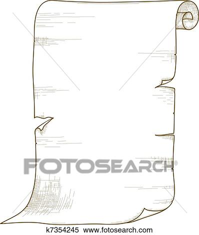 Clipart of Vector old paper roll. k7354245 - Search Clip ...  Old