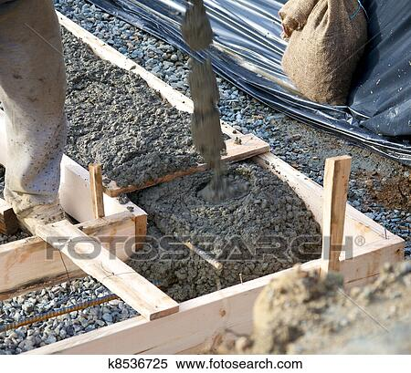 Stock image of pouring foundation k8536725 search stock for Best temperature to pour concrete foundation