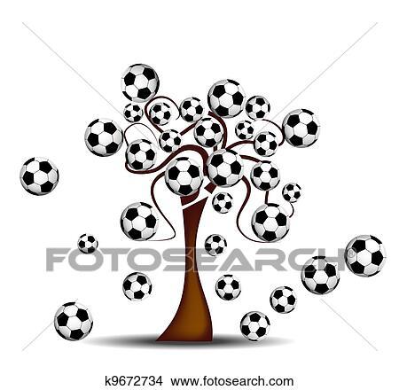 手绘图 - 树, 带, 足球.图片