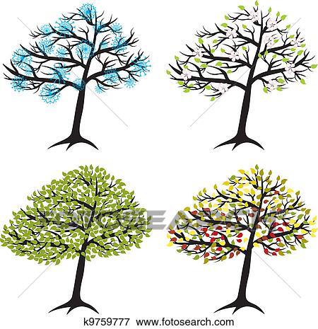 Clipart saison arbre pour hiver printemps t automne k9759777 recherchez des cliparts - Printemps ete automne hiver et printemps ...