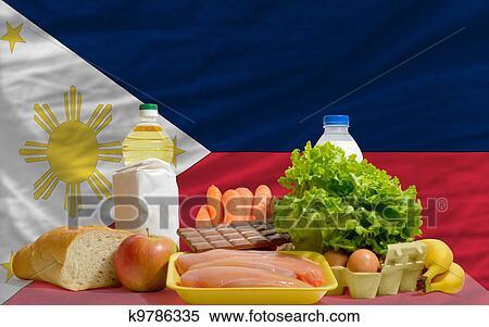stock bild grundlegende speise lebensmittel vor philippinen nationales kennzeichen. Black Bedroom Furniture Sets. Home Design Ideas
