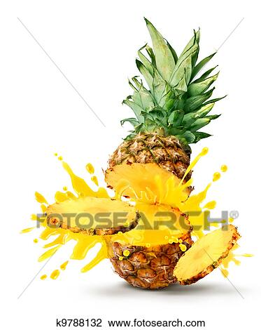 Stock Photo of Pineapple juice burst k9788132 - Search ...