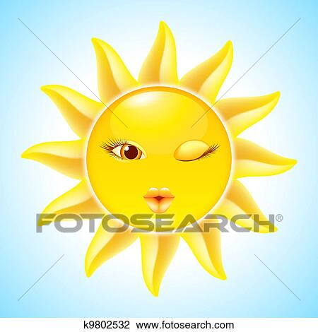 clipart of cartoon sun characters k9802532 search clip Closed Eyes Clip Art Large Winking Eye Clip Art