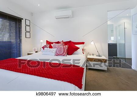 Billede   moderne, soveværelse k9806497   søg i stockfotografering ...