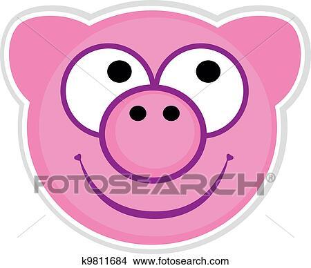 Clipart dessin anim mignon cochon rose cusson - Dessin cochon mignon ...