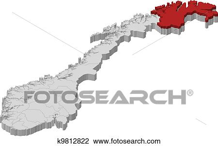 Clipart Of Map Of Norway Finnmark Highlighted K Search - Norway map clipart