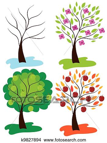 剪贴画 - 苹果, 树图片