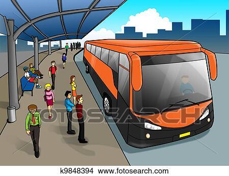 手绘图 - 公共汽车站