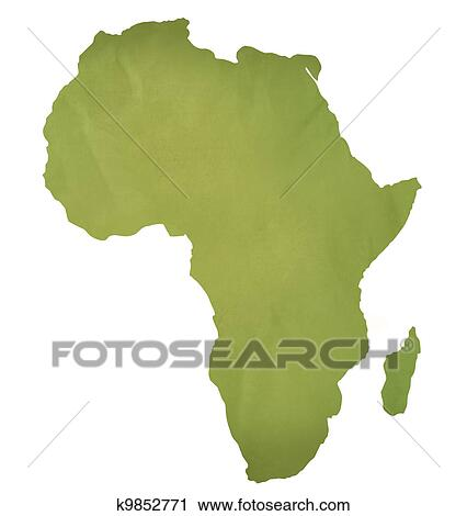 Clipart of Old green paper map of Africa k9852771 - Search Clip ...
