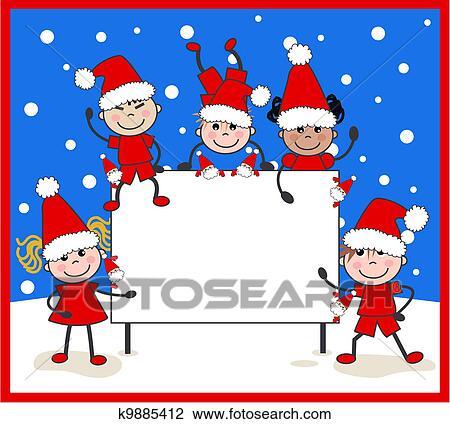 剪贴画 混合的少数民族成员, 孩子, 圣诞节