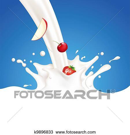 绘图 水果, 以及, 牛奶