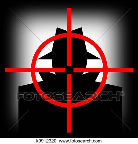 Stock Illustrations of Gun sight target man k9912320 - Search ...