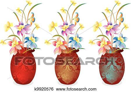 剪贴画 - 矢量, 花瓶