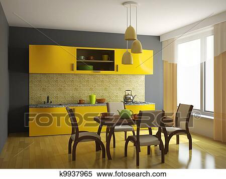 Banque D 39 Image Cuisine Orange Meubles K9937965