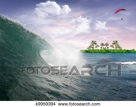 手绘图 - 海洋波浪