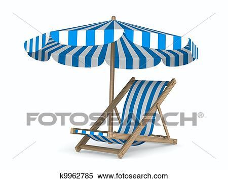 banque d 39 illustrations transat et parasol blanc arri re plan isol 3d image k9962785. Black Bedroom Furniture Sets. Home Design Ideas