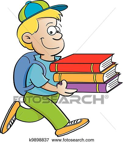 Bücherreihe clipart  Clip Art of Kid carrying books k9898837 - Search Clipart ...