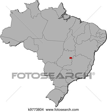 Clipart of Map of Brazil Brazilian Federal District highlighted