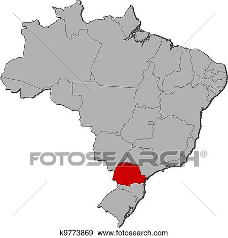 Clip art of map of brazil parana highlighted k9773869 search clip art map of brazil parana highlighted fotosearch search clipart illustration gumiabroncs Images