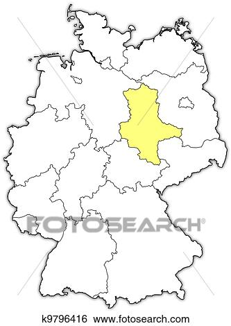 Clip Art of Map of Germany SaxonyAnhalt highlighted k9796416