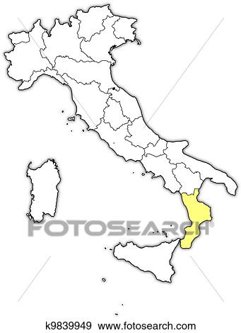 Clip Art of Map of Italy Calabria highlighted k9839949 Search