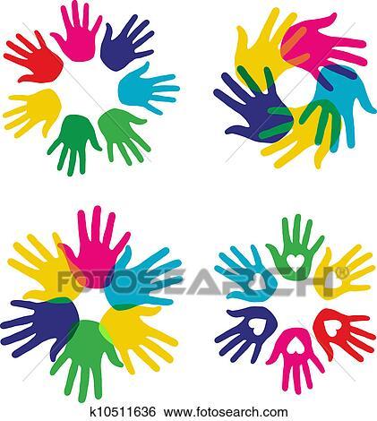clip art of multicolor diversity hands set k10511636 search rh fotosearch com Culture Diversity Clip Art Mountain Clip Art