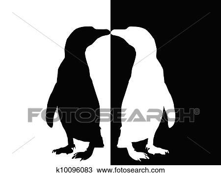clipart of penguin - silhouette k10096083 - search clip art