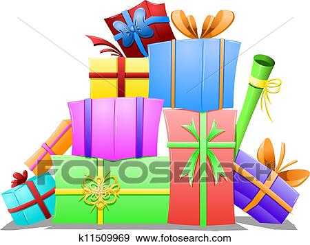 Clip art of pile of gift boxes k11509969 search clipart a vector illustration of a pile of gift boxes wrapped for the holidays negle Choice Image
