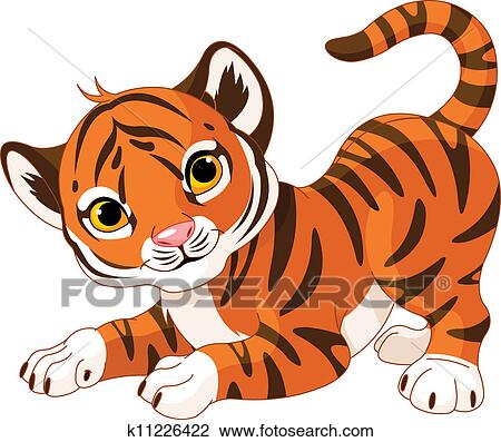 clipart of playful tiger cub k11226422 search clip art rh fotosearch com tiger cub face clipart tiger cub face clipart