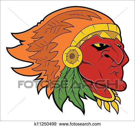 clip art of red indian tattoo vector k11250499 search clipart rh fotosearch com indian chief clipart free indian chief clipart black and white