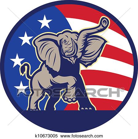 clipart of republican elephant mascot usa flag k10673005 search rh fotosearch com clipart republican elephant democrat republican clipart