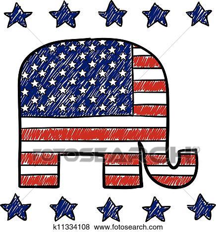 clip art of republican party elephant sketch k11334108 search rh fotosearch com republican clipart elephant republican clipart free