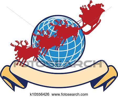 clip art of santa claus christmas globe reindeer k10556426 search rh fotosearch com