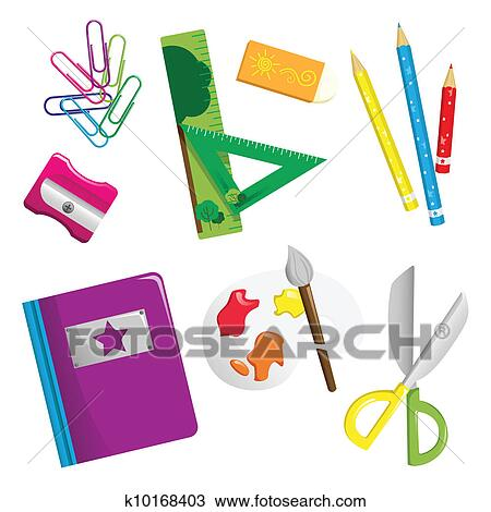 clipart of school supplies icons k10168403 search clip art rh fotosearch com clipart pictures of school supplies clip art images of school supplies